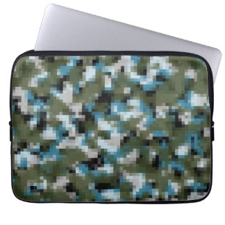 Digital Camo Winter Lake Laptop Sleeves