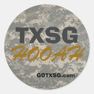 digital camoTXSG, GOTXSG.com, HOOAH round decal Round Sticker