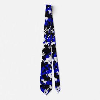 Digital camouflage Blue  white black Tie