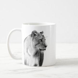 Digital Charcoal Sketch of a Lioness Coffee Mug