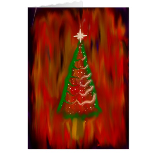Digital Christmas Tree Greeting Card