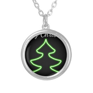 Digital Christmas tree Silver Plated Necklace