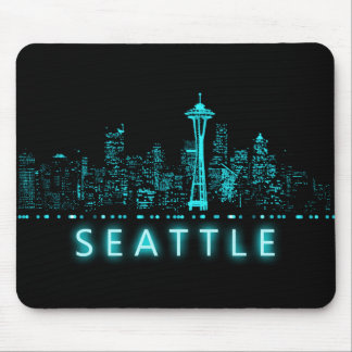 Digital Cityscape: Seattle, Washington Mouse Pad