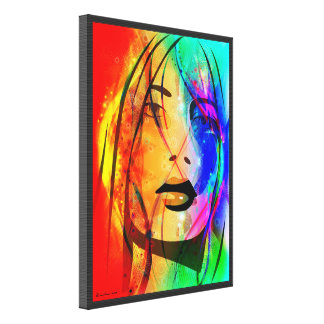 Digital Colorful Abstract Portrait-Lost Girl Canvas Print