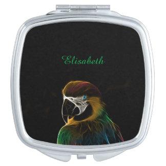 Digital colorful parrot fractal name makeup mirror