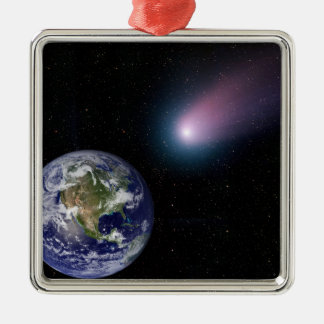 Digital composite of a comet heading towards Ea Silver-Colored Square Ornament