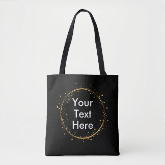 Digital drawing gold circle, Your Text Here design Tote Bag