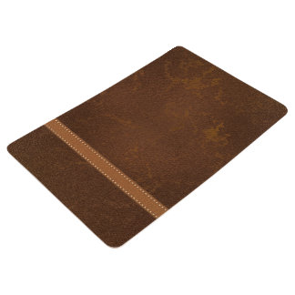 Digital Faux Distressed Brown Leather and Strap Floor Mat