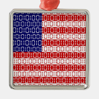 digital Flag (USA) Silver-Colored Square Ornament
