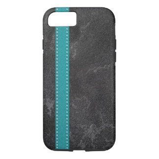 Digital Grey Faux Leather Turquoise Strap iPhone 8/7 Case
