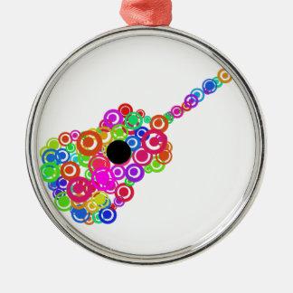 Digital Guitar instruments circle design Silver-Colored Round Ornament