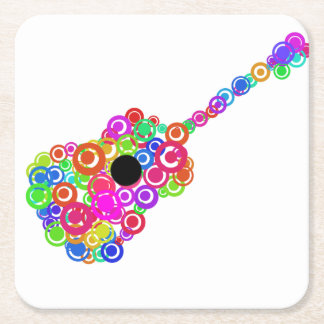Digital Guitar instruments circle design Square Paper Coaster