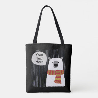 Digital hand drawing Bear, Your Text Here design Tote Bag