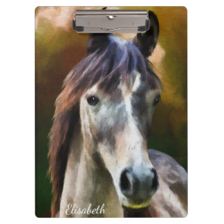 Digital horse portrait painting name clipboard