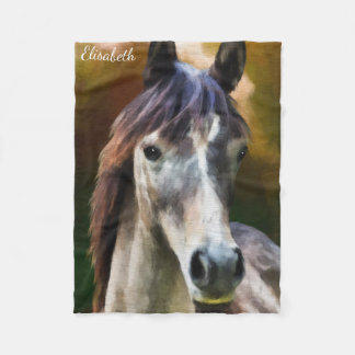 Digital horse portrait painting name fleece blanket