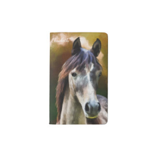Digital horse portrait painting name pocket moleskine notebook