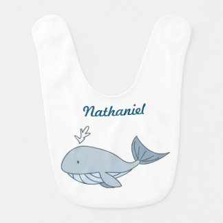Digital illustration, Blue Whale, Ocean Animal Bib