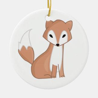 Digital Illustration Of A Cute Fox Round Ceramic Ornament