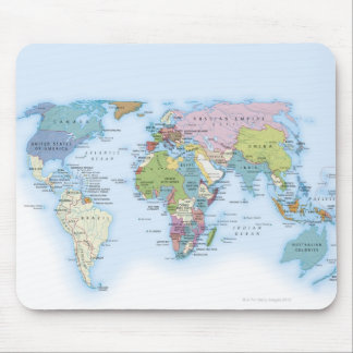 Digital illustration of the world in 1900 mouse pad