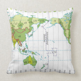 Digital illustration of world map showing time throw pillow