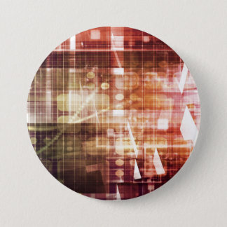 Digital Imagery with Data Network Transfer Art 3 Inch Round Button