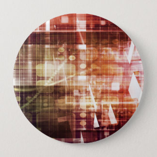 Digital Imagery with Data Network Transfer Art 4 Inch Round Button