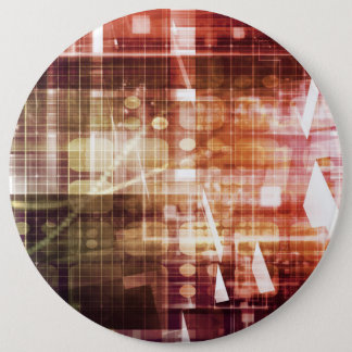 Digital Imagery with Data Network Transfer Art 6 Inch Round Button