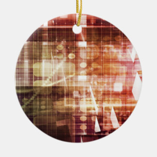 Digital Imagery with Data Network Transfer Art Ceramic Ornament