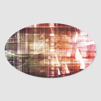 Digital Imagery with Data Network Transfer Art Oval Sticker