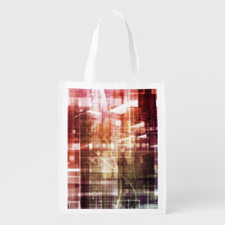 Digital Imagery with Data Network Transfer Art Reusable Grocery Bag