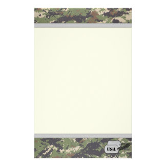 Digital Jungle Military Camouflage w/ ID Tag Stationery