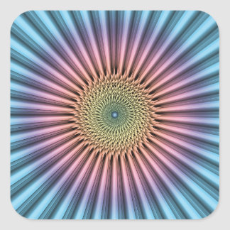 Digital Mandala Flower Square Sticker