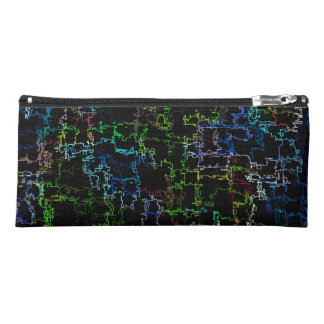 Digital Multicolor Abstract Line Pattern Pencil Case