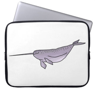 Digital Narwhal Illustration, Sea Animal Laptop Sleeve