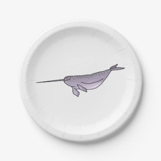 Digital Narwhal Illustration, Sea Animal Paper Plate