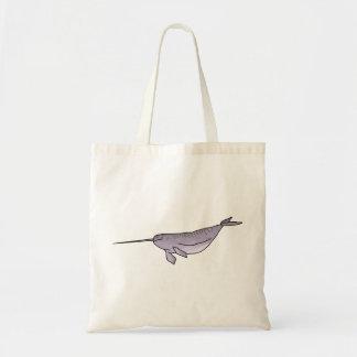 Digital Narwhal Illustration, Sea Animal Tote Bag
