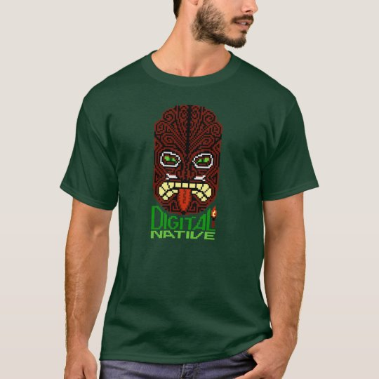 Digital Native 8-bit Pixel Art Tiki Islander Mask T-Shirt