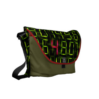 Digital numbers and electronic font commuter bags