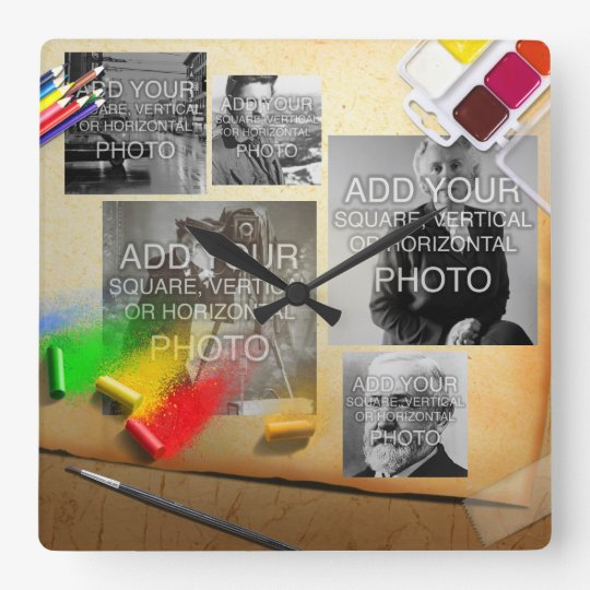 Digital or Instagram 5-Photo Artistic Wall Clock