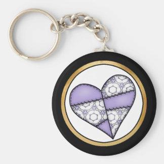 Digital Padded Patchwork - Heart-012 Basic Round Button Keychain