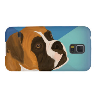 Digital Paint of Brown Boxer on Blue Background Case For Galaxy S5