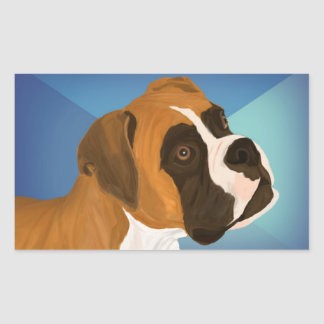 Digital Painted Brown Boxer Dog on Blue Background