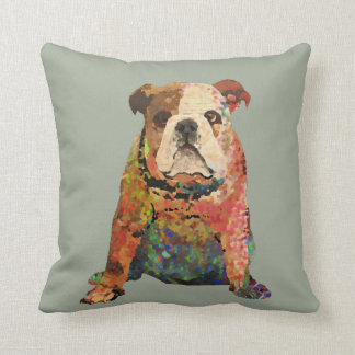 Digital Painted English Bulldog Throw Pillow