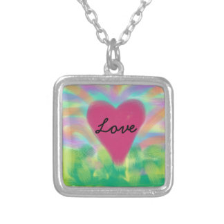 """Digital Painted silver necklace""""LOVE"""" Square Pendant Necklace"""