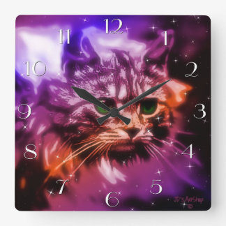 "Digital Painting ""Celestial Cat"" Clock"