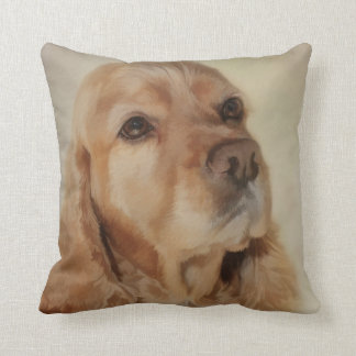 Digital Painting of a Beautiful Cocker Spaniel Dog Throw Pillow