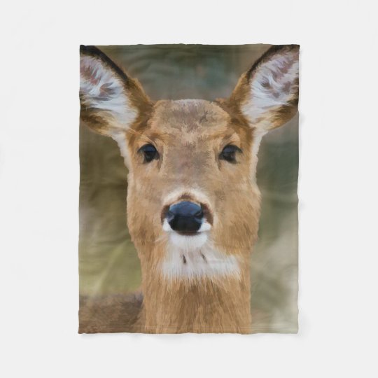 Digital Painting of a Gentle Doe Fleece Blanket