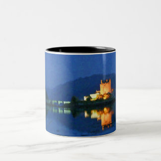 Digital painting of Eilean Donan at night on a mug