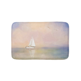 Digital Painting of Sailboat and Seagulls Bathroom Mat