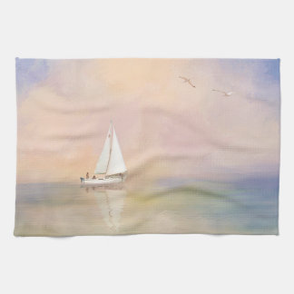 Digital Painting of Sailboat and Seagulls Kitchen Towel